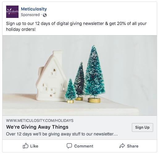 Christmas Example Lead Gen Ad Facebook Meticulosity
