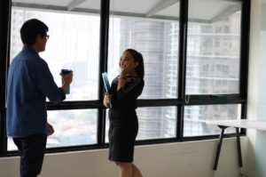 In-office interaction between a male & female coworker