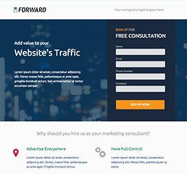 Leadgen style landing page. Used for sales & lead generation.