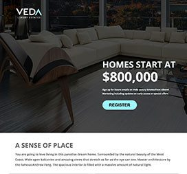 Signup style landing page. Visual & informative.