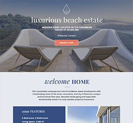 Clickthrough style landing page. Informative & to the point.