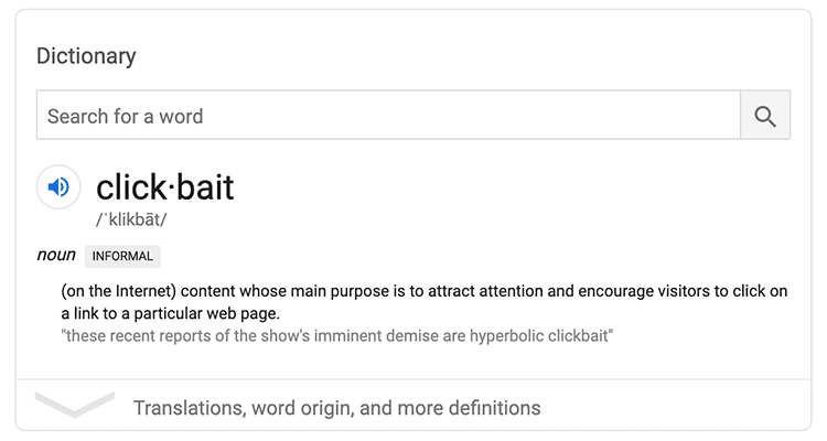 What is the definition of clickbait?
