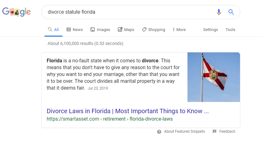 Featured snippet example in Google search results