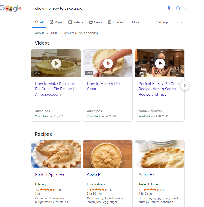Featured video snippet example
