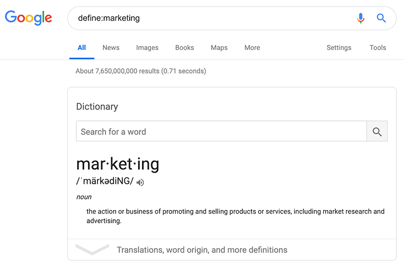 Google search definition example
