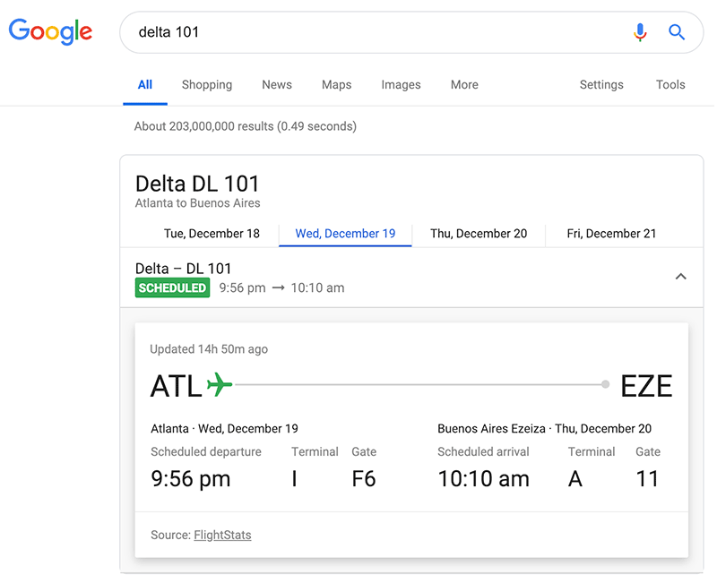 Google Search Tips: Google can give you flight status