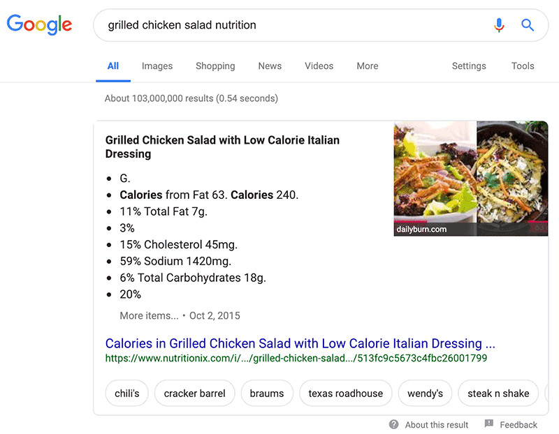 Google Search Tips: Google can give you nutrition details