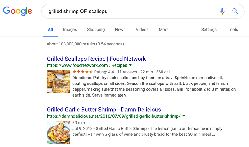 Google Search Tip: typing capitalized OR between two topics will give results for both