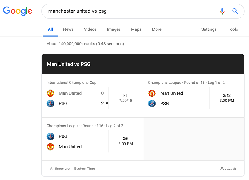 Google Search Tips: Google can give you sports scores and game details