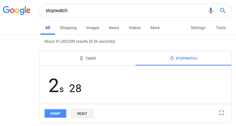 Google Search Tip: Use Google stopwatch to keep expert time.
