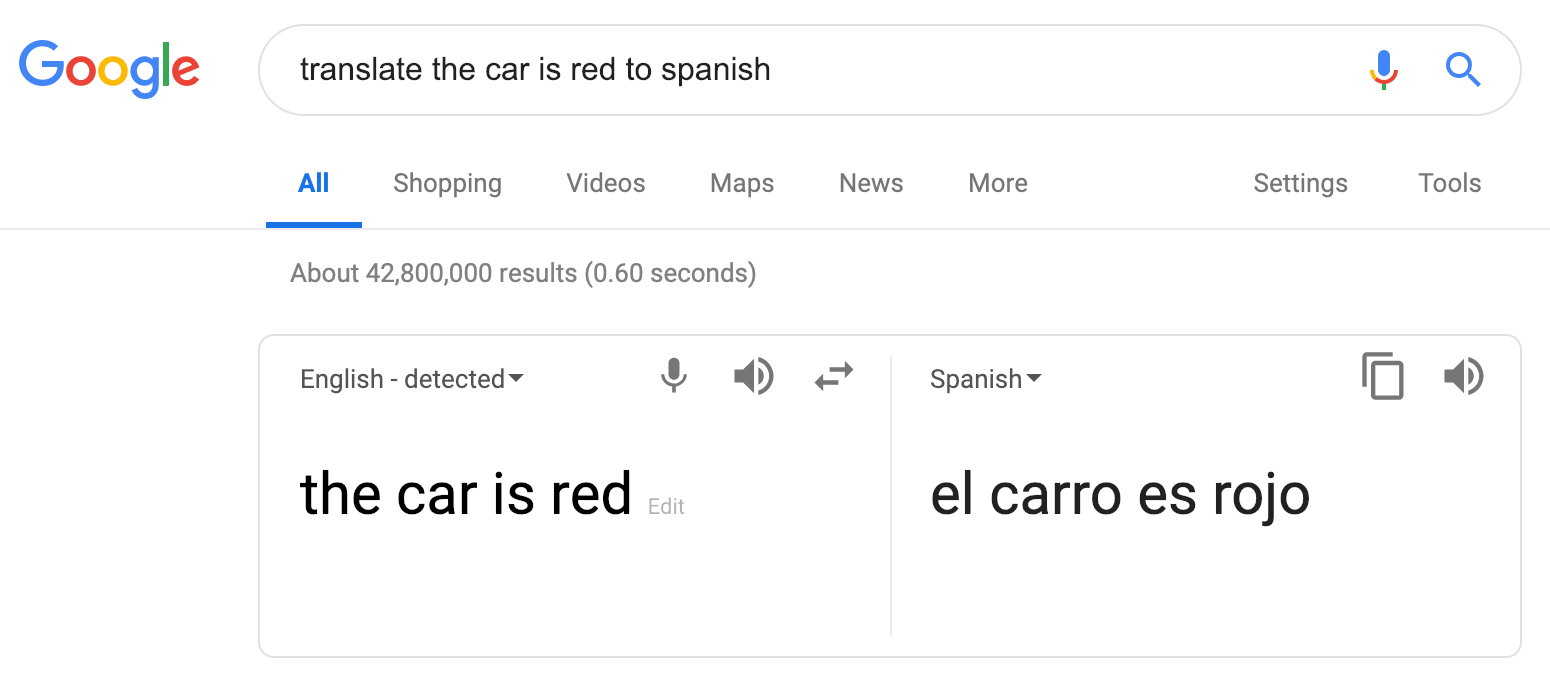 Google search translation example