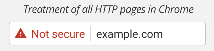 """Google Chrome displays a """"Not secure"""" warning for all HTTP pages."""