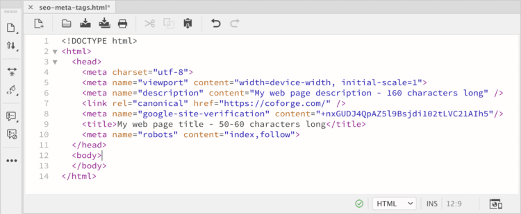 SEO title tag example in HTML