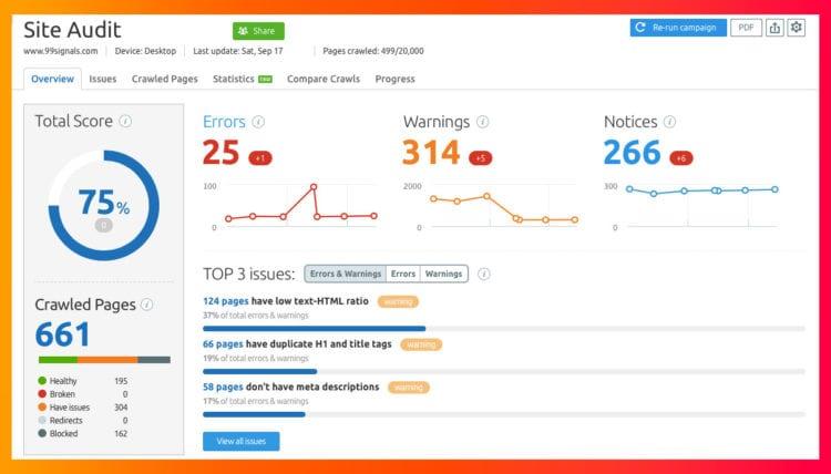 SEMrush SEO site audit tool.