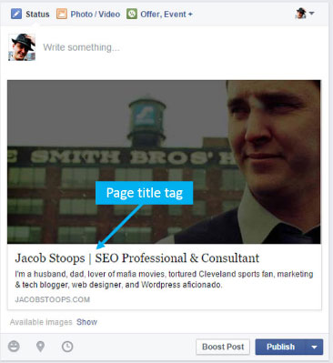Page title tag used for social media headline