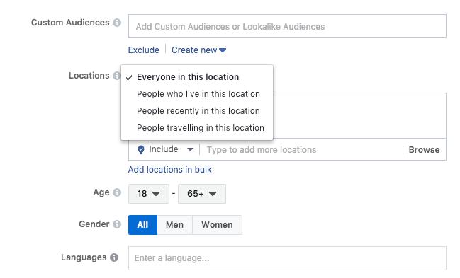Facebook Custom Audiences Example-Location International Microtargeting