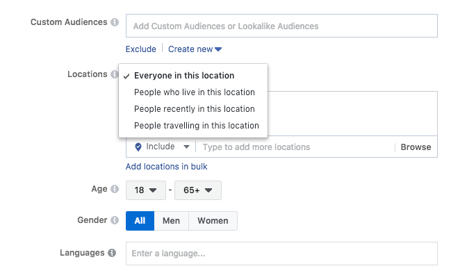 Facebook Custom Audiences Example-Location International Microtargeting