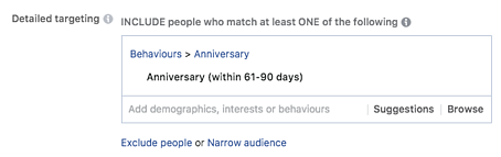 Facebook paid international behavior targeting example