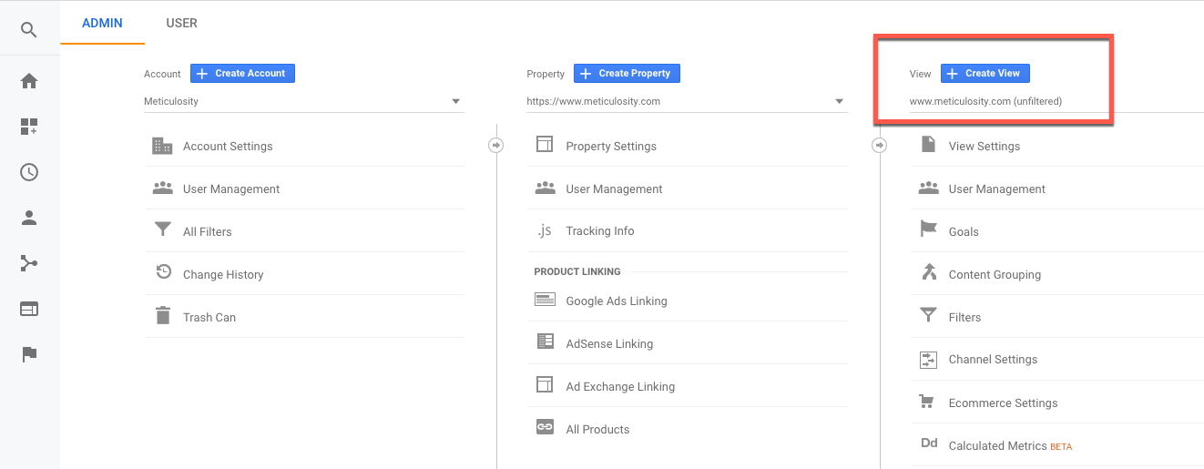 Custom views in Google Analytics