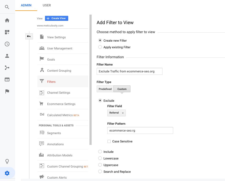 Exclude Domains in Google Analytics