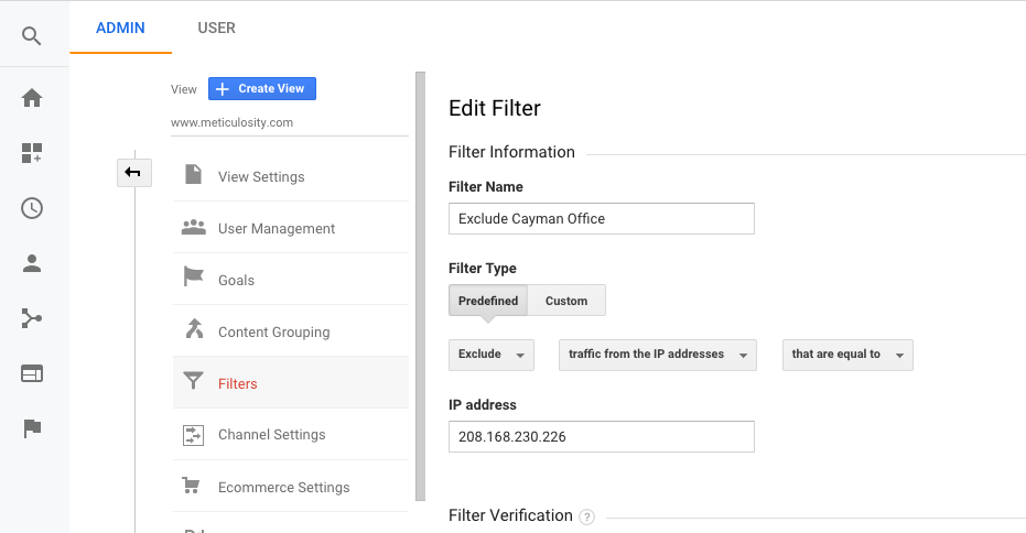 Filtering IP addresses in Google Analytics