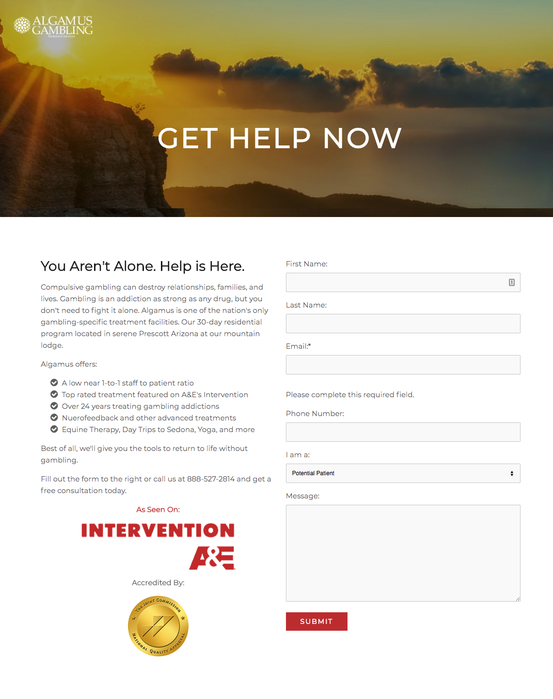 Get Help Now Landing Page