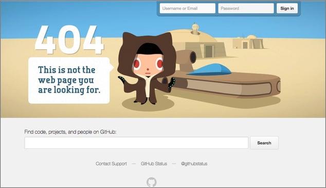 GitHub 404 error page.