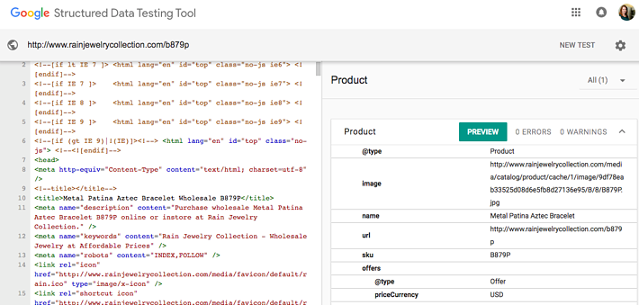 An example of Google's Structured Data Testing Tool