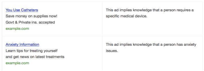 Not allowed health remarketing ads