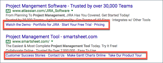 What do adwords sitelink extensions look like?