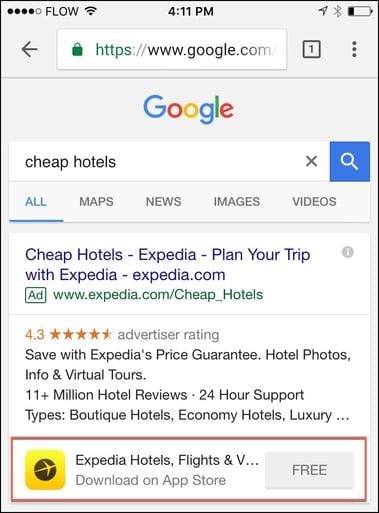 Expedia Google App Extension