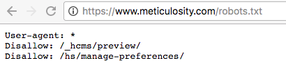 Meticulosity Robots.txt file