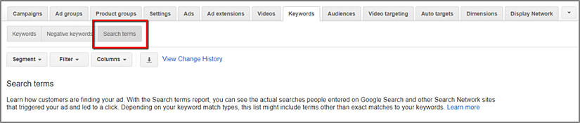 Search terms in keyword lists for Google Ads to optimize your campaigns
