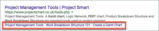 Organic sitelinks in Google search results