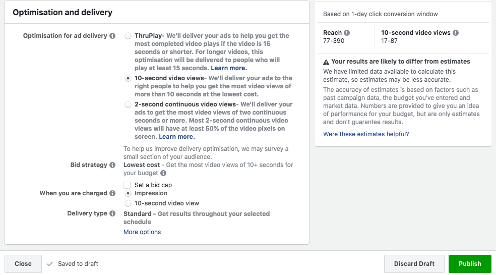 optimisation and delivery Facebook ads